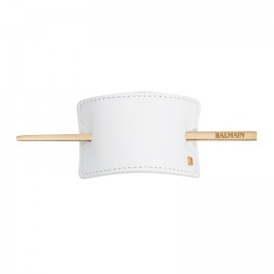 Hair Barrette White Leather