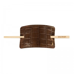 Hair Barrette Brown Crocodile