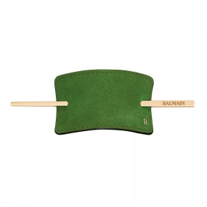 Hair Barrette Green Suede