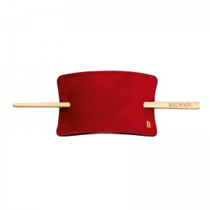 Hair Barrette Red Suede