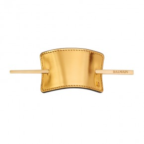 Hair Barrette Gold Leather