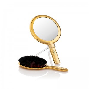14K Gold Plated Spa Brush & Hand Mirror