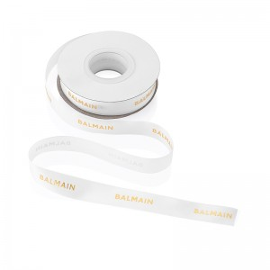 19mm White with Golden Logo Ribbon 25Y- 22.86M